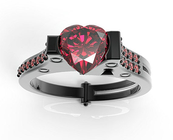 Heart Cut Ruby Black Gold Handcuff Engagement RingUnique