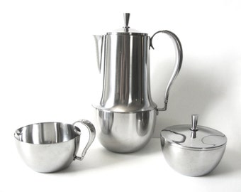 Georg Jensen Stainless Steel Coffee Pot, Creamer And Sugar Pattern B4