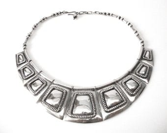 Frank Patania Sr Sterling Silver Necklace With Ornamental Shield Front Circa 1940s