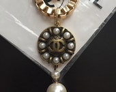Chanel Button Necklace/ Gold Book Chain/Statement Necklace