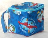 """Zippered project yarn box, 5""""x5"""", sock box bag, knitting, crochet, embroidery, Snoopy, Red Baron, Flying Ace"""
