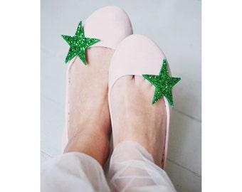 Green Glitter Star Shoe Clips Big, Glitter Fabric Star Shoe Accessory, Green Festive Shoeclips, Star Shoe Clips
