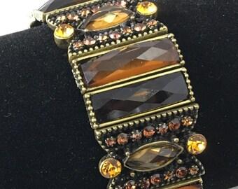 Shades of Amber Golden Brown Rhinestone Beaded Expandable Bracelet