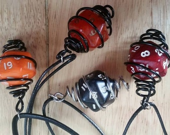 RED d20 wrapped wire necklace