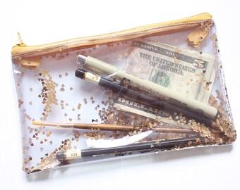Golden heart, Transparent handbag, Clear bag, Pencil case, Purse organizer, confetti
