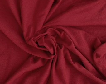 "Red Cotton Interlock Knit Fabric By the Yard 57""W 1/16"