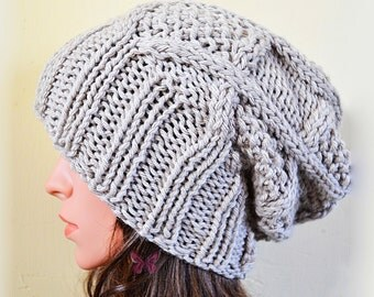 Slouchy beanie hat Style II - PEARL GREY - knit - Unisex - accessories - slouch - baggy - gift