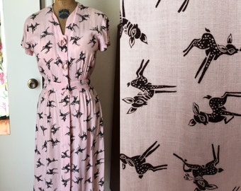 Adorable 1940s Novelty Fawn Print Dress