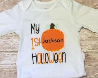 Embroidered My First Halloween Pumpkin bodysuit/shirt
