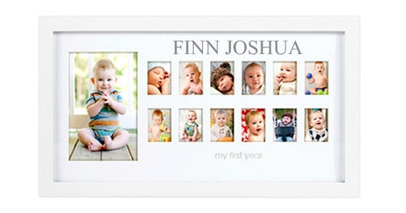 Baby's First Year Picture Frame, Month by Month Photo Frame, Personalized Baby Picture Frame, Baby Age Photo Frame, Baby Shower Gift