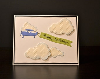 Birthday Card, Masculine Birthday Card, Handmade Card, Airplane Card