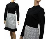 Vintage 1960s Dress Black Gray Dress with Fringed Polyester 60s Dress