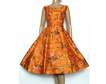 Vintage 1950s Dress Floral //Sleeveless// Rayon//Party Dress//Orange//Floral// Rockabilly//
