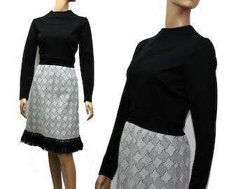 Vintage 1960s Dress// Polyester// 60s Dress//Black//Gray//Black Fringing//Mod Dress//S/M Dress//
