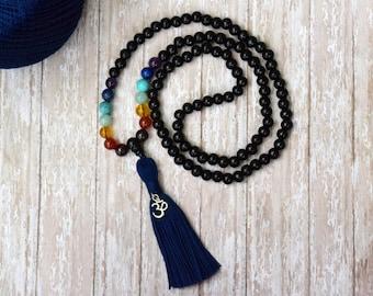 108 Mala Bead, Bohemian Jewelry, Boho Tassel Mala Necklace, Tassel Necklace, Bohemian Necklace, Yoga Beads, Meditation Prayer Beads