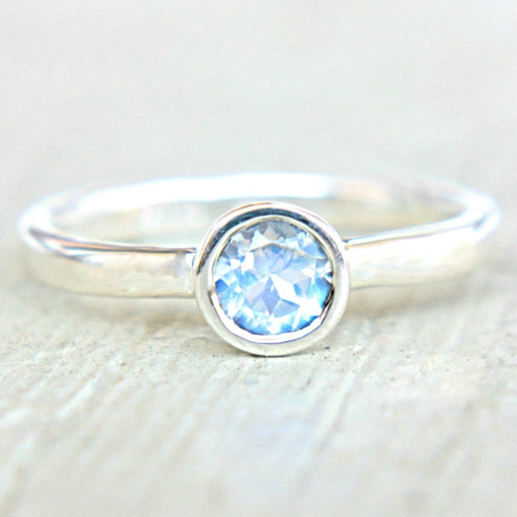 Moonstone Engagement Ring Rainbow Moonstone Ring Blue