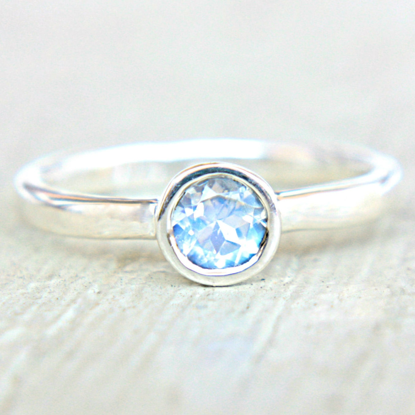 Moonstone Engagement Ring Rainbow Moonstone Ring Blue