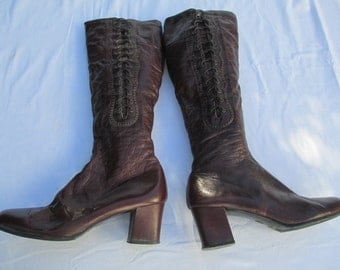 1960s 1970s Granny Boots - side zip, laces, made in Spain - size 6 M