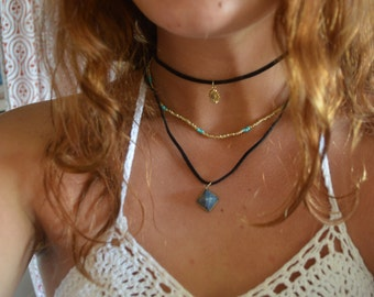 Gold Triple Strand Leather/Beaded Choker Necklace