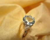 RESERVED FOR ninjasage/Natural Oval Aquamarine accented with White Sapphire Ring size seven