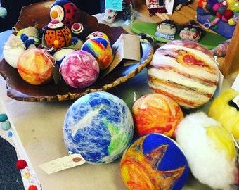 Custom order for Teri Lynn B. Personalized Wool Ball with an Earth theme