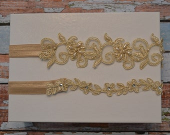 Gold Wedding Garter, Lace Garter Set, Gold Beaded Wedding Garter Set, Gold Lace Garter Belt, Gold Lace Bridal Garter Set, Vintage Style, C13