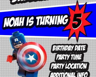 Lego Captain America Invitation, Custom Invitation