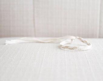 Friendship Bracelet Embroidery Thread Woven Bracelet White and Cream Asymmetrical Chevron Bracelet