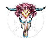 A0004 - Goat Skull in Floral , Wreath, Animal, Tribal - Digital Print for Instant Download. Printable Illustration. PNG, JPG files 8x10''.