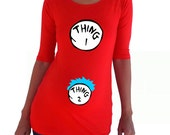 """Personalized Maternity Shirt """"Thing 1"""" and """"Thing 2""""- Red"""