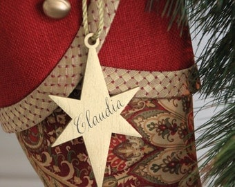 Personalized Christmas Stocking Tags - Gold Wooden Star Name Tags with Gold Cord Tie - Hand Calligraphy Name in Black Ink