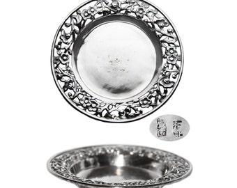 Vintage Chinese Silver Miniature Floral Pierced Tray - No Monogram