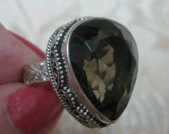 Smokey Quartz Faceted Sterling Silver Ring 9