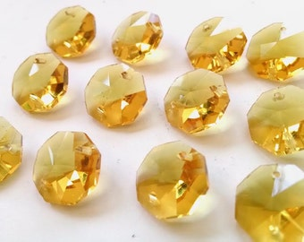 12 Yellow Chandelier Crystal Octagon Beads Prisms 14mm