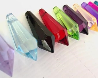 22 Icicle Chandelier Crystals Assorted Colors 38mm Prism