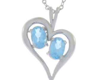 Blue Topaz Oval Heart Pendant .925 Sterling Silver