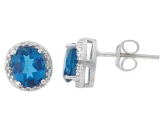 London Blue Topaz & Diamond Round Stud Earrings .925 Sterling Silver