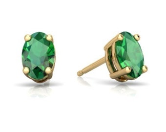 14Kt Yellow Gold Emerald Oval Stud Earrings