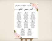 Wedding Seating Chart, Table Seating Plan, Find Your Seat, Guest List, Whimsical Boho Flowers, Cheap Printable PDF, FREE SHIPPING! (SC9)