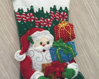 Ho Ho Ho Santa Completed Handmade Felt Christmas Stocking from Bucilla Kit