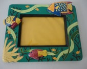 """Tropical Fish Wooden Frame - 5""""x7"""" - Ocean Theme / Handcrafted / Made in Indonesia / Children's Decor / Family Vacation"""