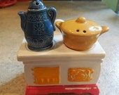 30 40S VINTAGE SALT and pepper shakers and sugar bowl