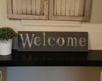 Distressed Vintage look  Welcome sign/White and gray/For the front entry