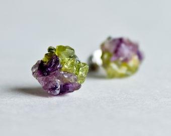 Amethyst peridot stud earrings Rough Gemstone stud earrings Spring post stud earring