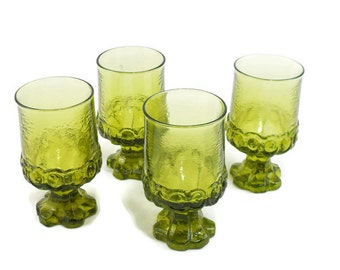Water Goblet * 1970s Tiffin Franciscan Madeira * Citron Green * Set of 4