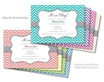 Choose Your Color Chevron Baby Shower Invitation, Boy Baby Shower Invitation, Girl Baby Shower Invitation - Printable Digital File