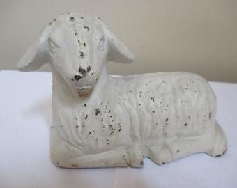 Vintage cast metal sheep figurine