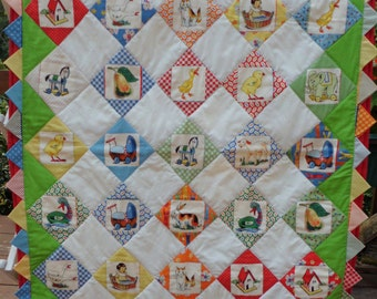 """Ducks In A Row - Baby Quilt  36"""" x 48"""""""