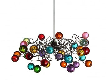 Lighting Fixtures Multicolored bubbles Ceiling Light with metal wire, Ceiling light fixture for girls bedroom, living room and bathroom.
