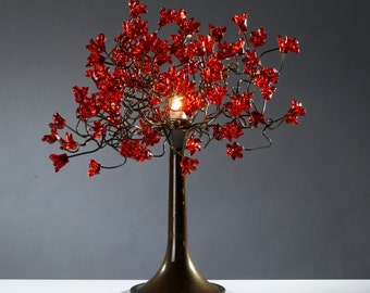 Table lamp with Red jumping flowers, flower and metal wires, lighter for desk or bedside table.